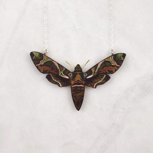 Wooden Necklace - Oleander Hawkmoth