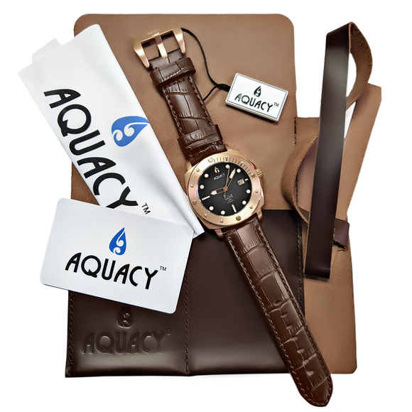 Aquacy Bronze CuSn8 Series Automatic Men's 200m Watch 44mm Black/Gray Dial Brown Strap - Wrist Check Monthly