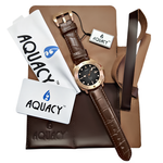 Load image into Gallery viewer, Aquacy Bronze CuSn8 Series Automatic Men's 200m Watch 44mm Black/Gray Dial Brown Strap - Wrist Check Monthly