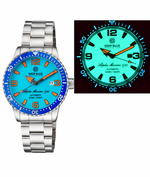 Load image into Gallery viewer, ALPHA MARINE AUTOMATIC BLUE WHITE CERAMIC LUMINOUS BEZEL FULL LUME BLUE ORANGE DIAL - Wrist Check Monthly