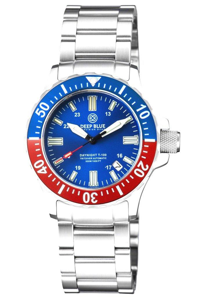 DAYNIGHT 41 TRITDIVER T-100 TRITIUM TUBES AUTOMATIC BLUE / RED BEZEL- BLUE DIAL - Wrist Check Monthly