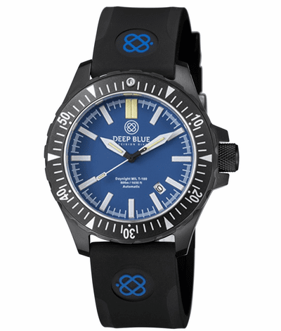 DAYNIGHT MIL T-100 TRITIUM GREEN FLAT TUBES- BLACK PVD CASE / BLUE DIAL - Wrist Check Monthly
