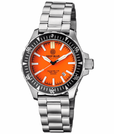 DAYNIGHT MIL T100 TRITIUM BLUE FLAT TUBES- ORANGE DIAL BRACELET - Wrist Check Monthly