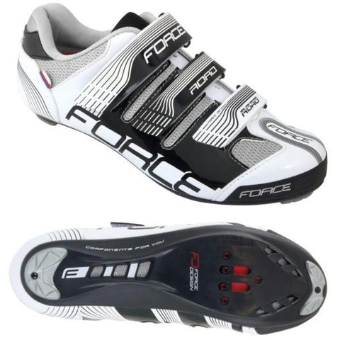 Zapatillas de ciclismo de carretera Force - Negro Blanco