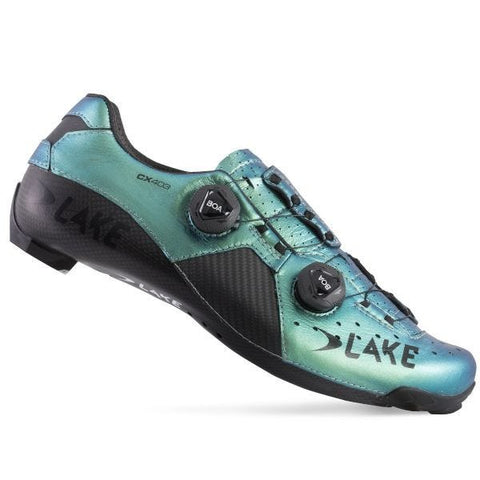 Imagen de las zapatillas de carretera de carbono Lake CX403 CFC Wide Fit Chameleon Green
