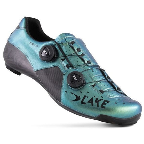 Zapatillas de carretera de carbono Lake CX403 CFC Wide Fit Chameleon Green