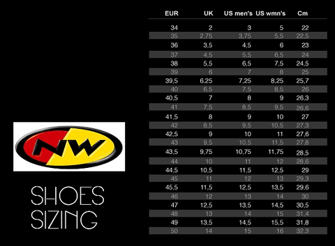 Northwave Shoe Sizing Guide | OneillsCycleStore.com