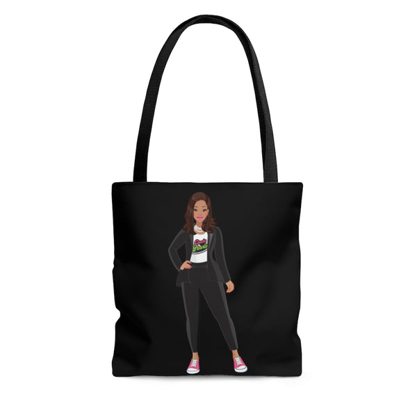 Madame VP - Chucks & Pearls Black Tote (Pink & Green)