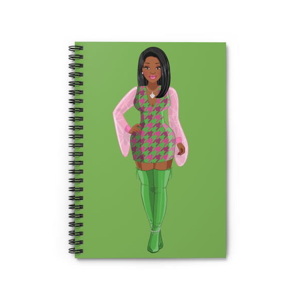 Black Sorority Pink & Green Spiral Notebook
