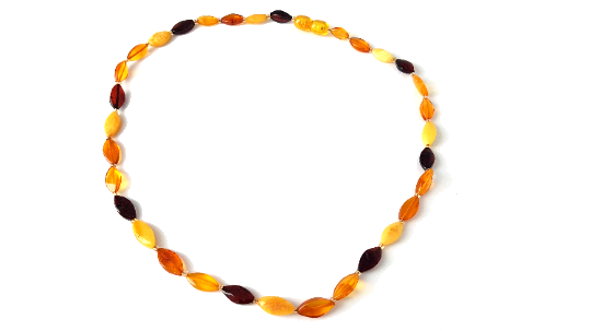 Certified Baltic Amber Necklace - Adult size - oval beads