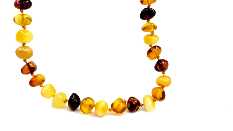 Baltic Amber Necklace - Teething necklaces for babies - Round beads mix color
