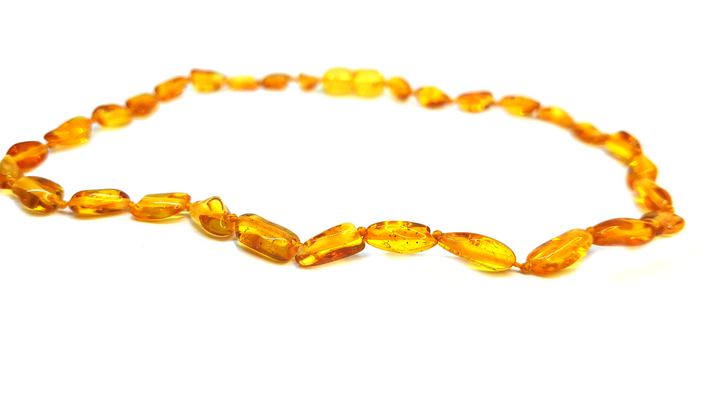 Baltic Amber Necklace - small size 32cm - oval breads HONEY colour