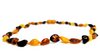Baltic Amber Necklace - small size 32cm - oval breads MIX colour