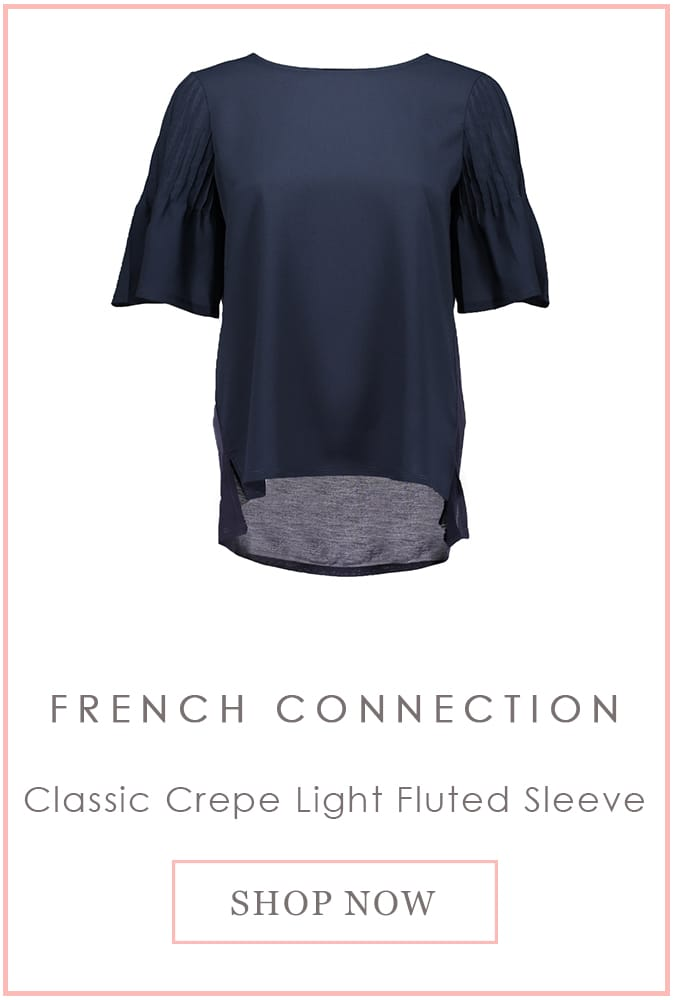 French Connection Classic Crepe Light Fluted Sleeve
