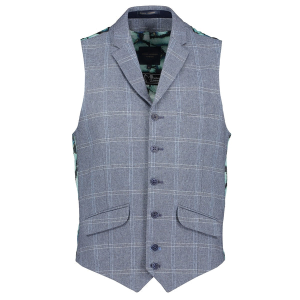 Check Floral Waistcoat