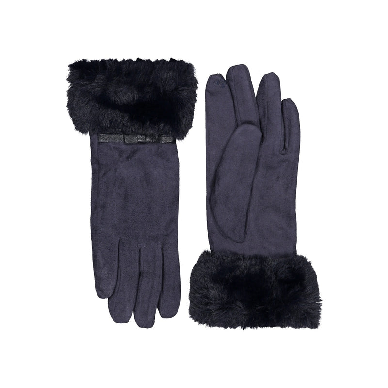 Faux Fur Trim Faux Suede Gloves