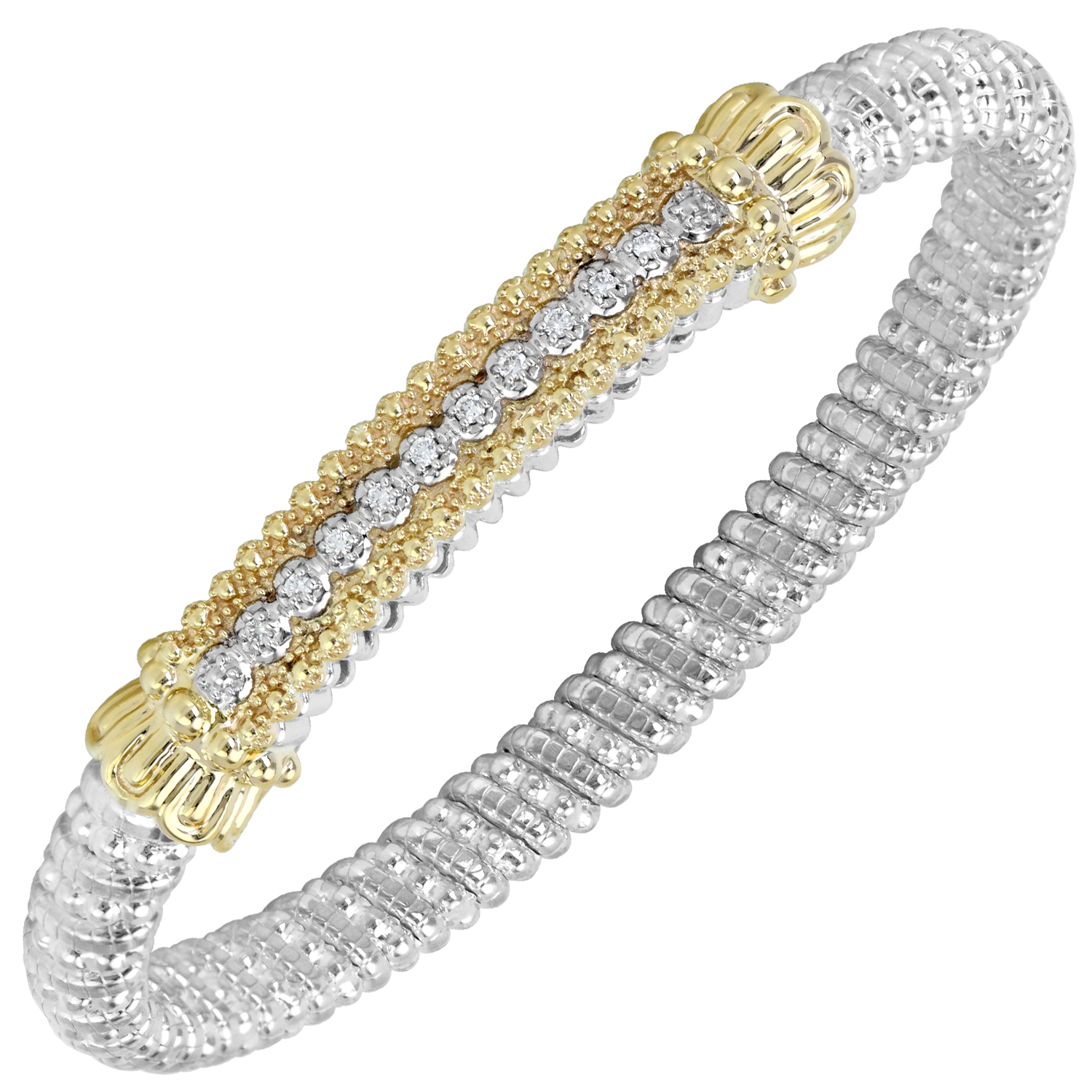 Diamond Bar Gold Edged Bracelet