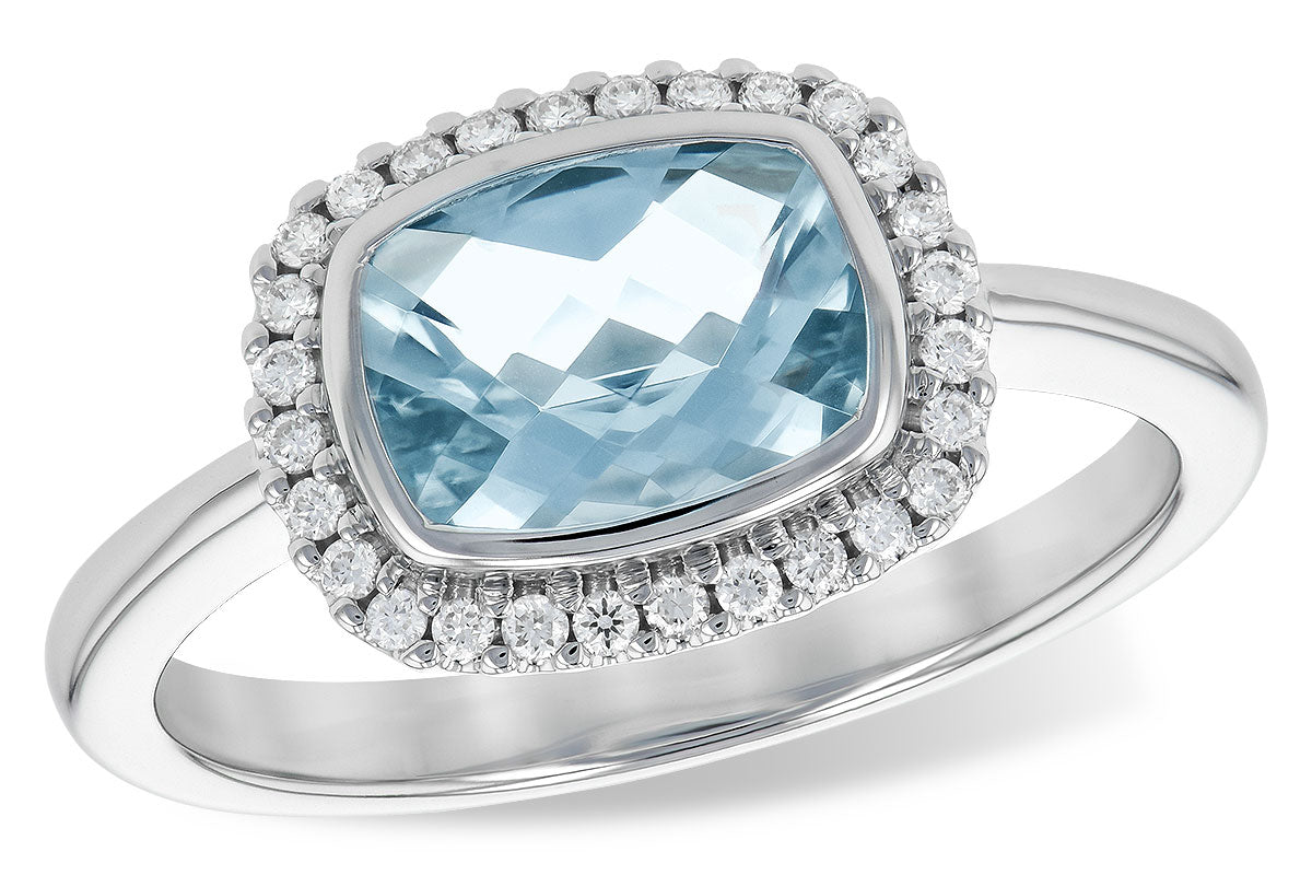 East-West Aquamarine & Diamond Ring in White Gold