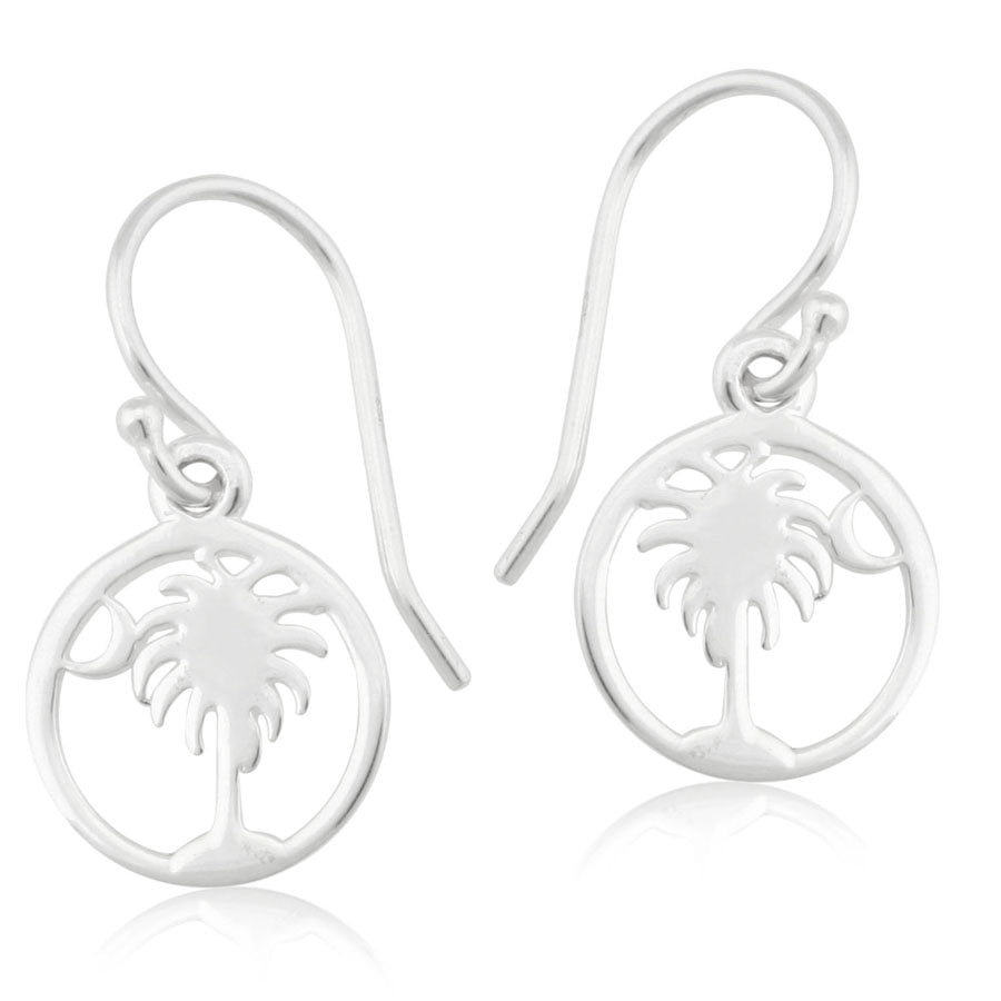 Round Palmetto Tree & Moon Earrings