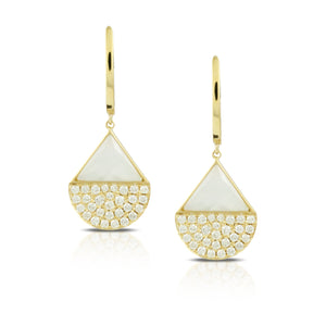 Mother of Pearl & Clear Quartz Fused Fan Earrings With Pave Diamonds