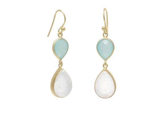 Green Chalcedony and White Druzy Gold-Plated Earrings