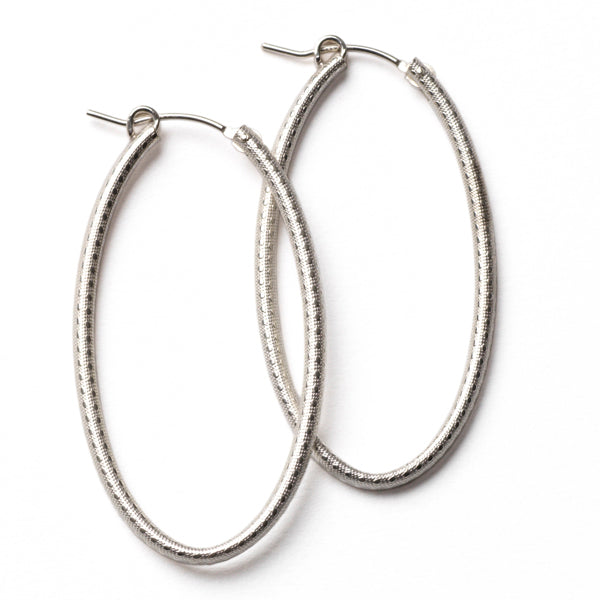 Southern Gates Sterling Silver Textured Oval Hoop