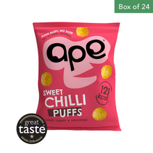 Load image into Gallery viewer, APE Puffs 100% Natural Coconut Puffs 24 x 25g - Sweet Chilli
