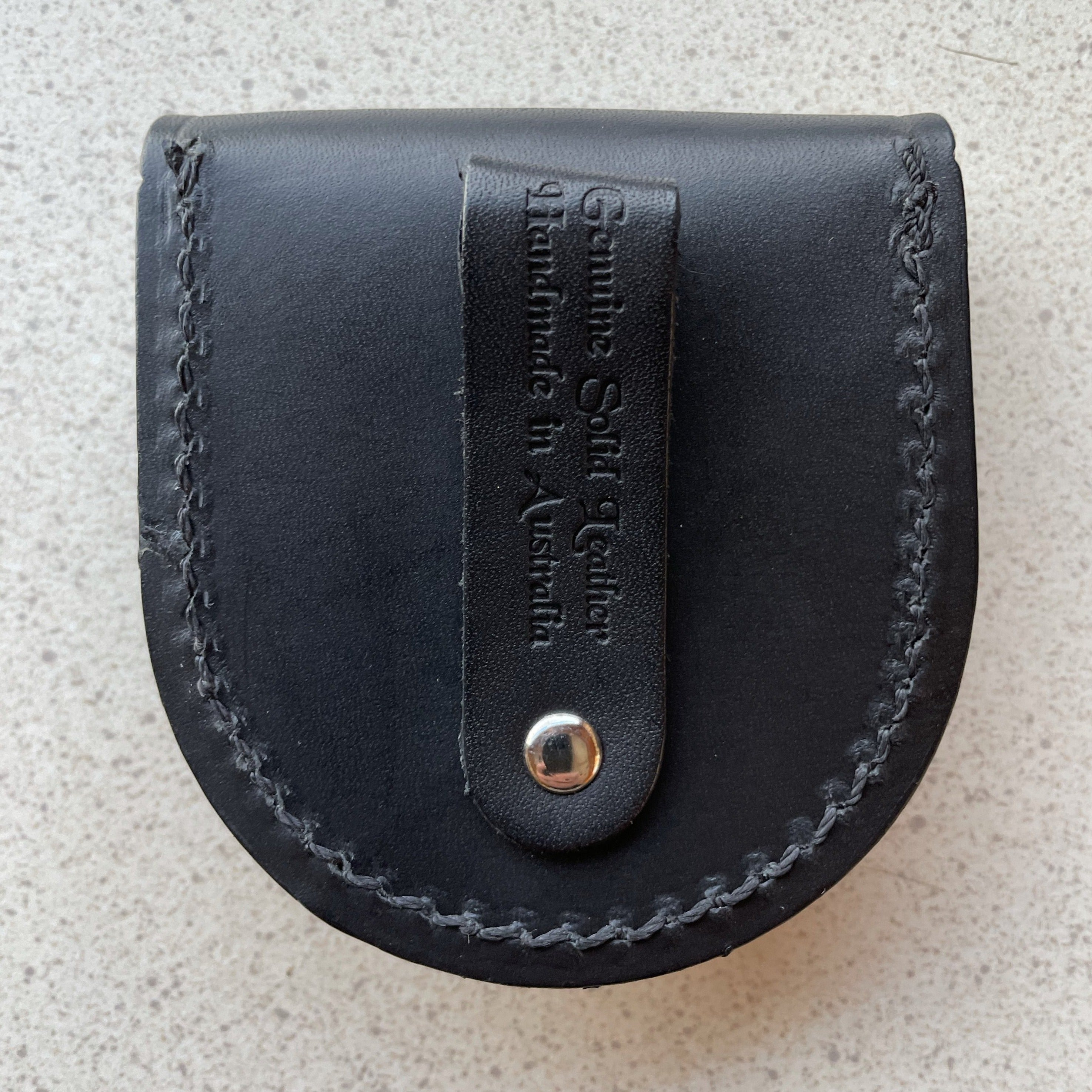 Hand Crafted Black Leather Coin Pouch