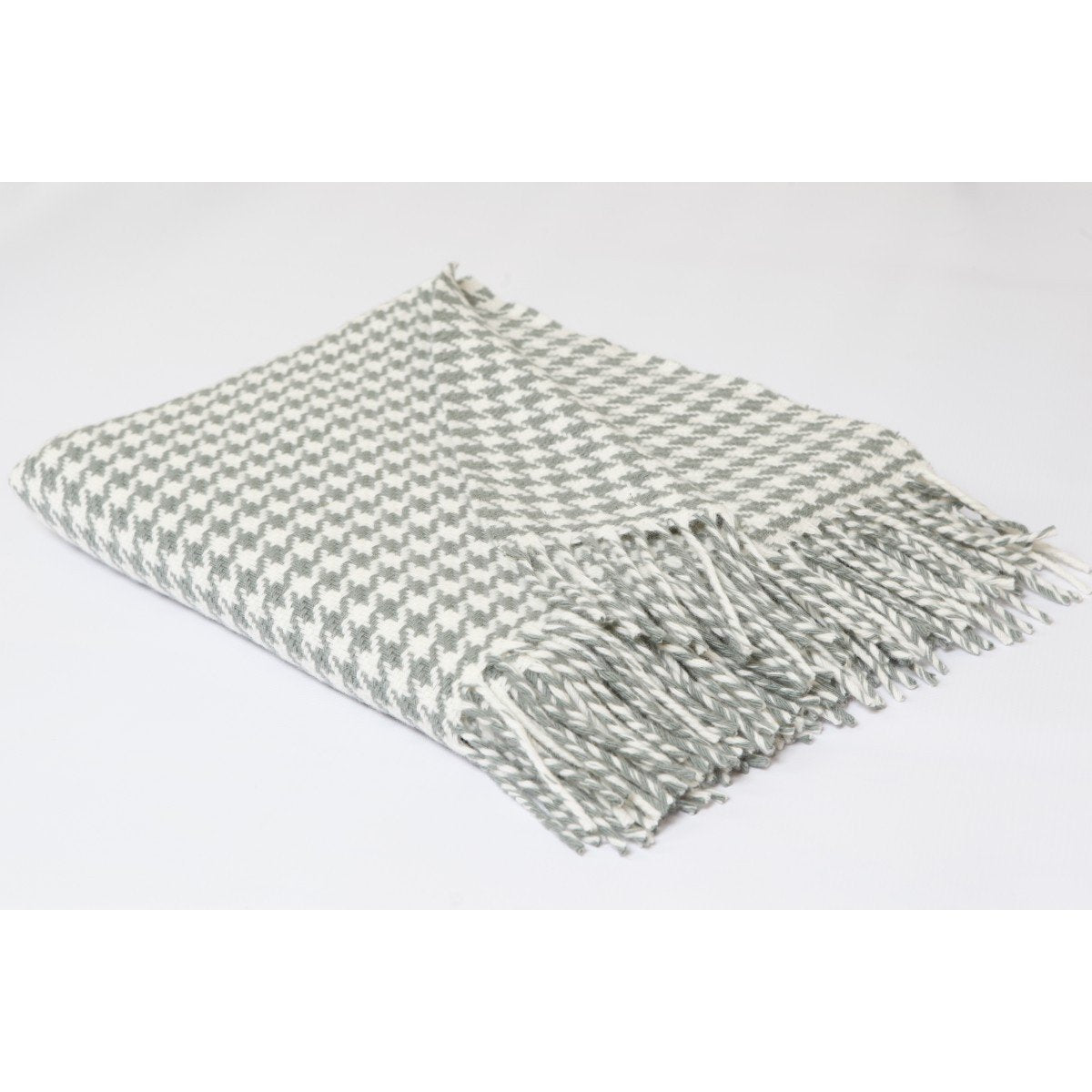 Grey & Cream Houndstooth Merino Wool Throw