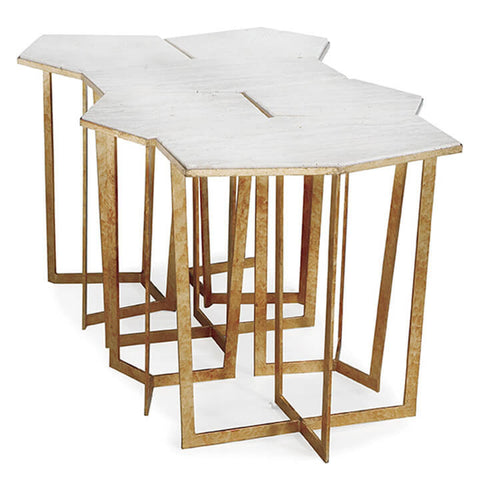 Gold Leaf Puzzle Table Set with Travertine (6 pcs)