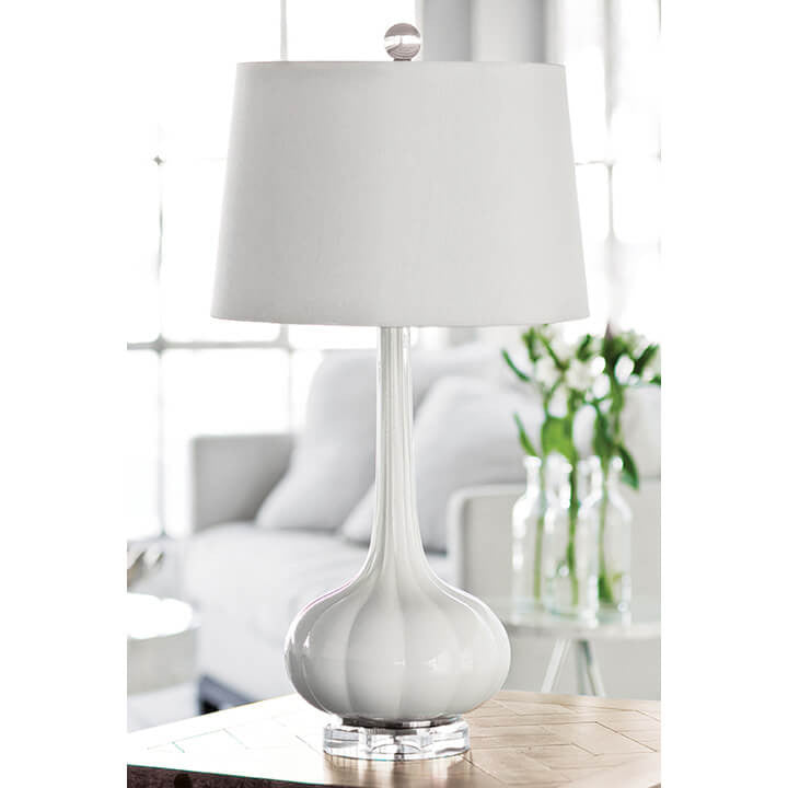Milano Glass Table Lamp (Snow)