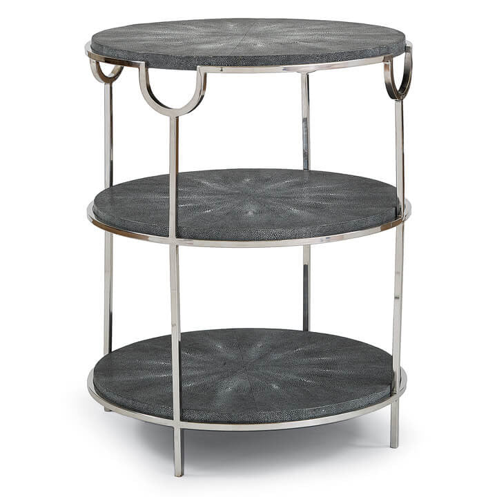Vogue Side Table (Charcoal Shagreen and Nickel)