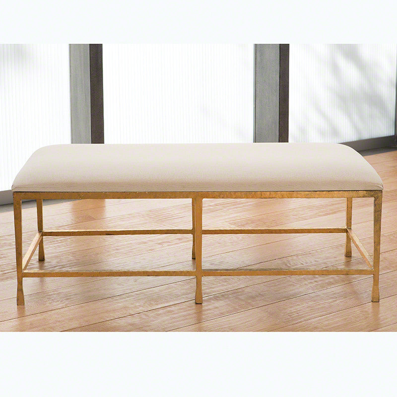 Quad Pod Bench-Gold Leaf w/Muslin Cushion