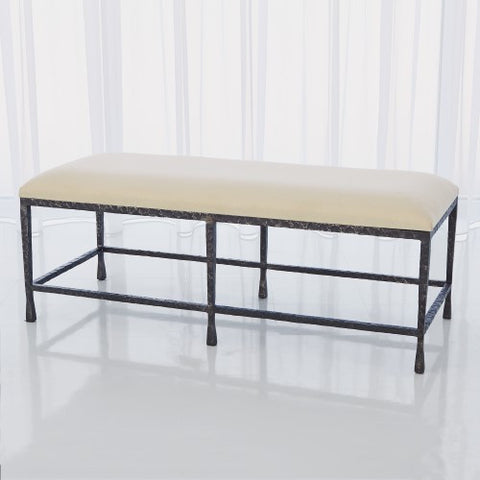 Quad Pod Bench-Natural Iron w/Muslin Cushion