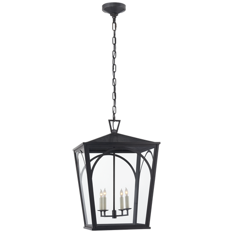 Darlana Arc Large Lantern in Bronze with Clear Glass