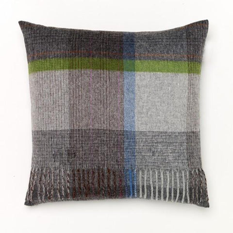 Slate/Multi Windowpane Lambswool Pillow Small