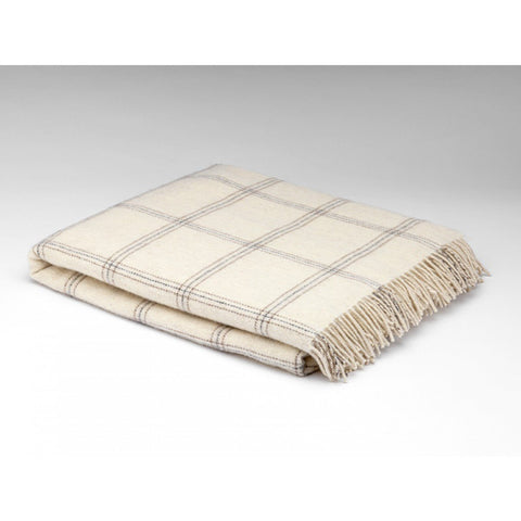 Pearl Windowpane Lambswool Throw