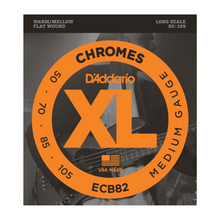 Load image into Gallery viewer, D'Addario ECB82 Chromes Flat Wound Bass Guitar Strings, Medium, 50-105, Long Scale