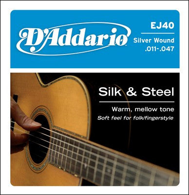 D'Addario Silk & Steel Acoustic Folk Guitar Strings Light EJ40