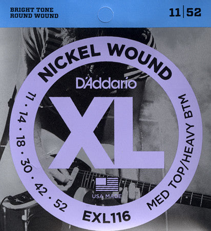 D'Addario Nickel Wound Electric Guitar Strings Medium Top/Heavy Bottom EXL116