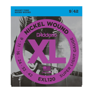 D'Addario Nickel Wound Electric Guitar Strings Super Light EXL120