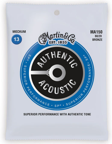 Martin MA150 SP 80/20 Bronze Medium Authentic Acoustic Guitar Strings