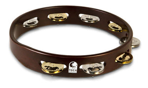 "Toca Acacia Wood Tambourine, 10"" Single Row"