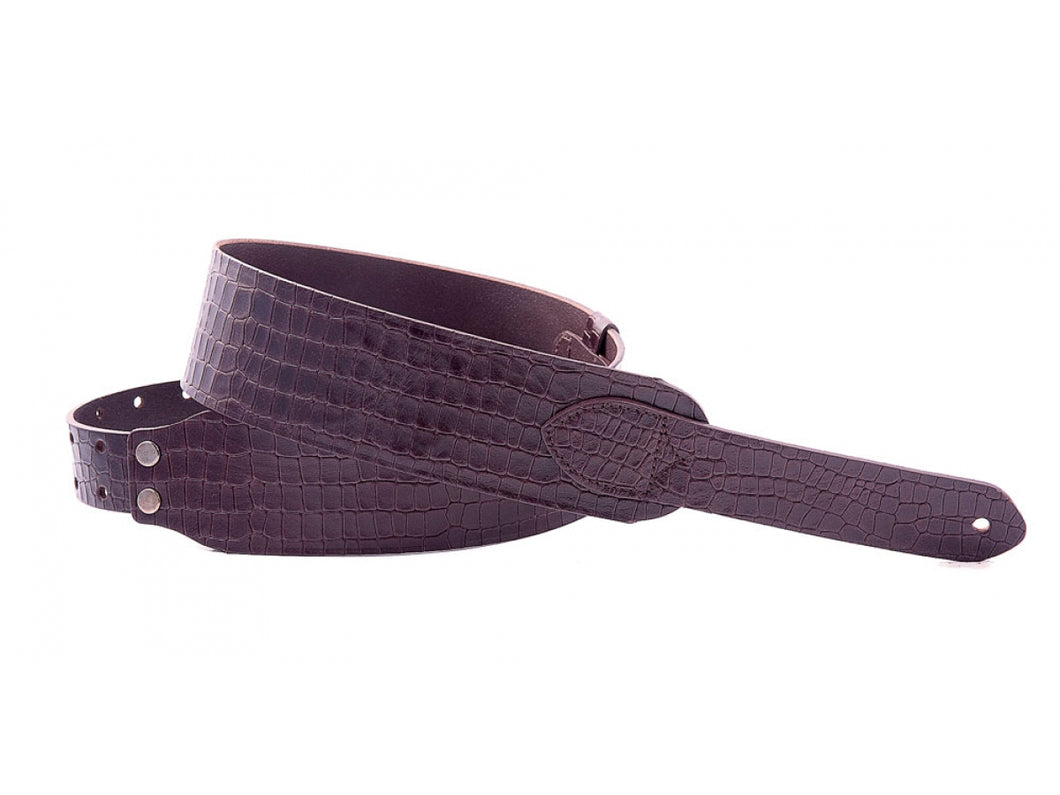 Right On! Wild Collection Alligator Brown Leather Guitar Strap