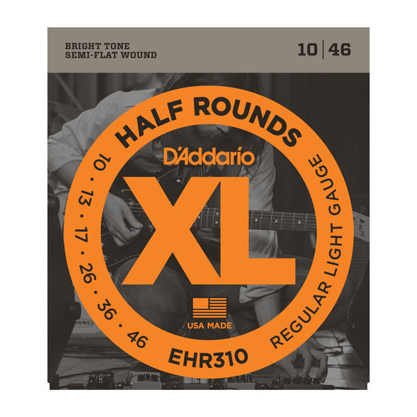 D'Addario EHR310 Half Rounds Semi Flat-Wound Electric Guitar Strings - Regular Light