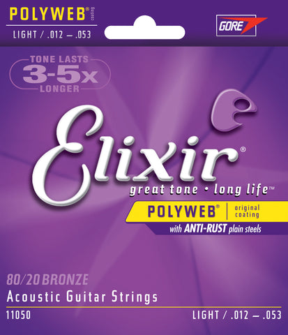 Elixir Nanoweb 80/20 Bronze Acoustic Guitar Strings Light 11050