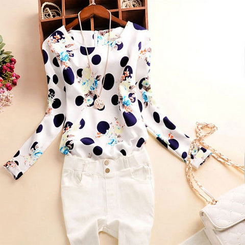 Polka-Dot Meets Floral Chic Blouse Top - 2 Colors Available! - Miracles Fashion Boutique