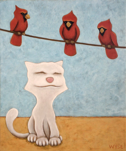 Peter Wyse artwork 'TOM CAT AND THE CARDINALS' available at Canada House Gallery - Banff, Alberta