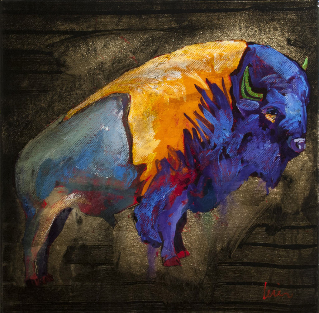 Grant Leier artwork 'BISON ON GOLD' available at Canada House Gallery - Banff, Alberta