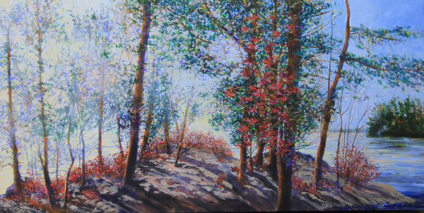 Bev Rodin artwork 'FOREST LIGHT SERIES - GRANITE POINT' available at Canada House Gallery - Banff, Alberta